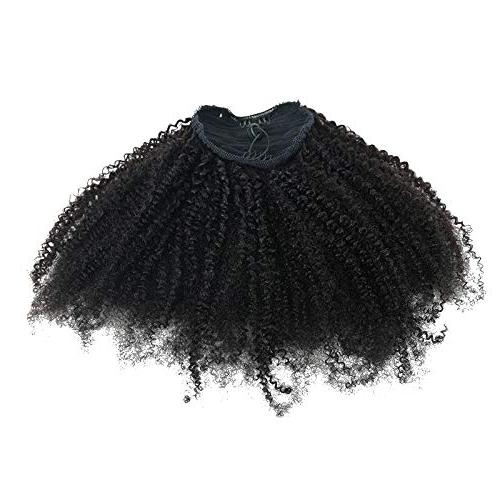 EIAKE Hair In Human Hair Extensions For African Kinky Coily Natural Ponytail Curly Drawstring Puff Top Closure