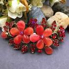 Elegant Antique tone red rhinestone crystal flower hair clip