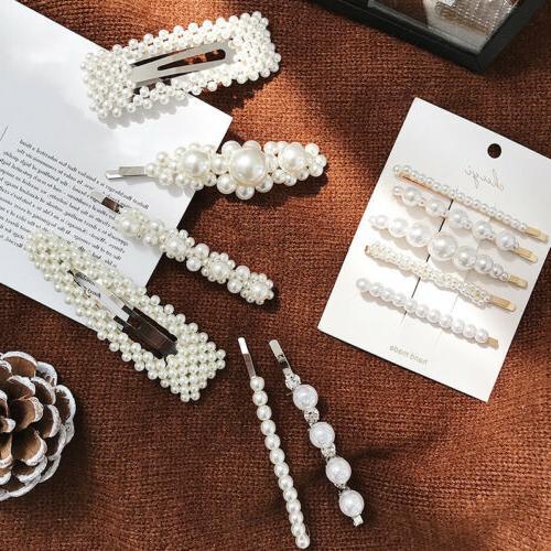 elegant crystal barrettes hair clip pearl hairpin