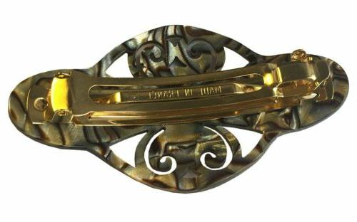 French Amie Elyse Handmade Onyx Silver Acetate Hair Clip