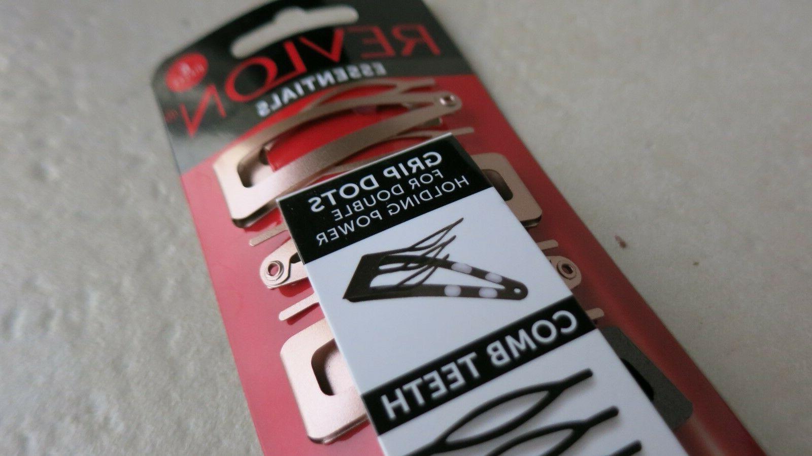 REVLON essentials Clip BLACK & SILVER holding 6 pcs