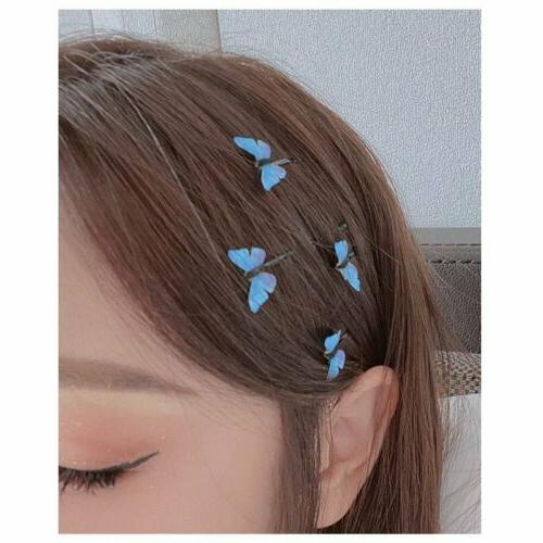 Fashion Blue Butterfly Clip Bobby Barrette Hairpin