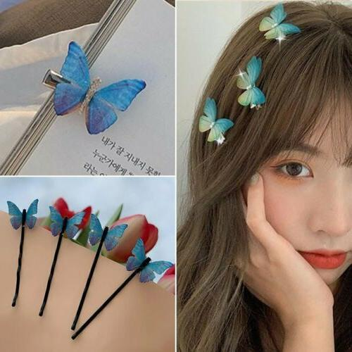 fashion blue butterfly hair clip hairband bobby