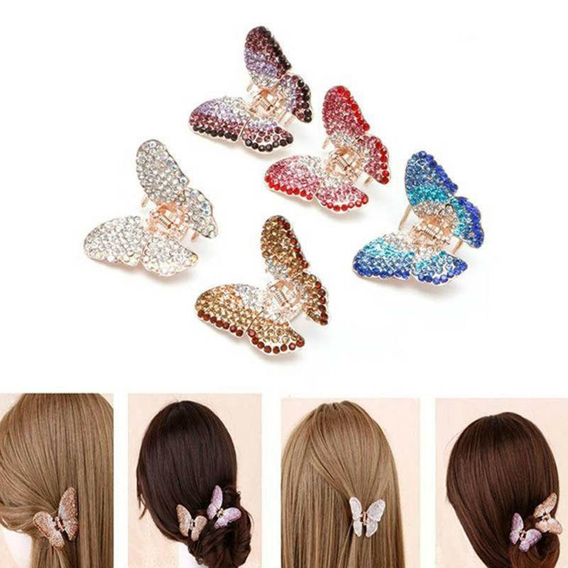 fashion butterfly claw women crystal rhinestone hair