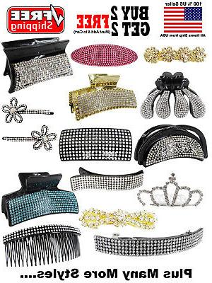 fashion crystal rhinestone hair clip barrette claw