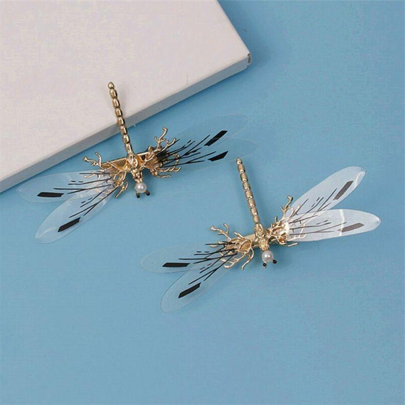 Fashion Dragonfly Pearl Hairpins Wedding Jewelry