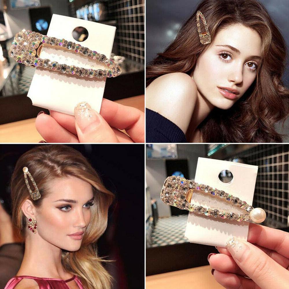 fashion girls crystal pearl hair clips bobby