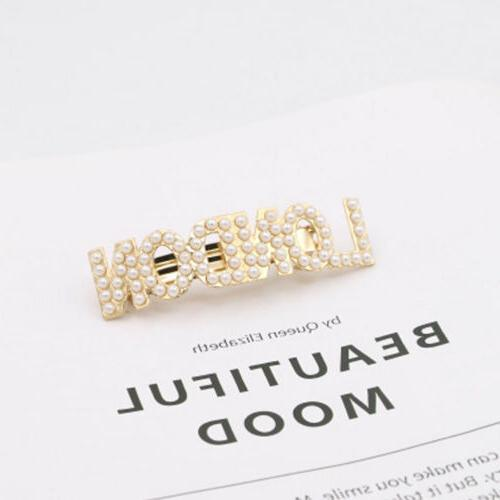 Fashion Pearl Letters Clip Barrette Hairpin