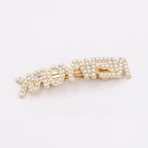 Fashion Pearl Letters Clip Pin Barrette Gifts