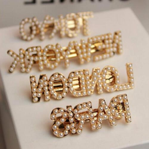 fashion pearl letters hair clip bobby pin