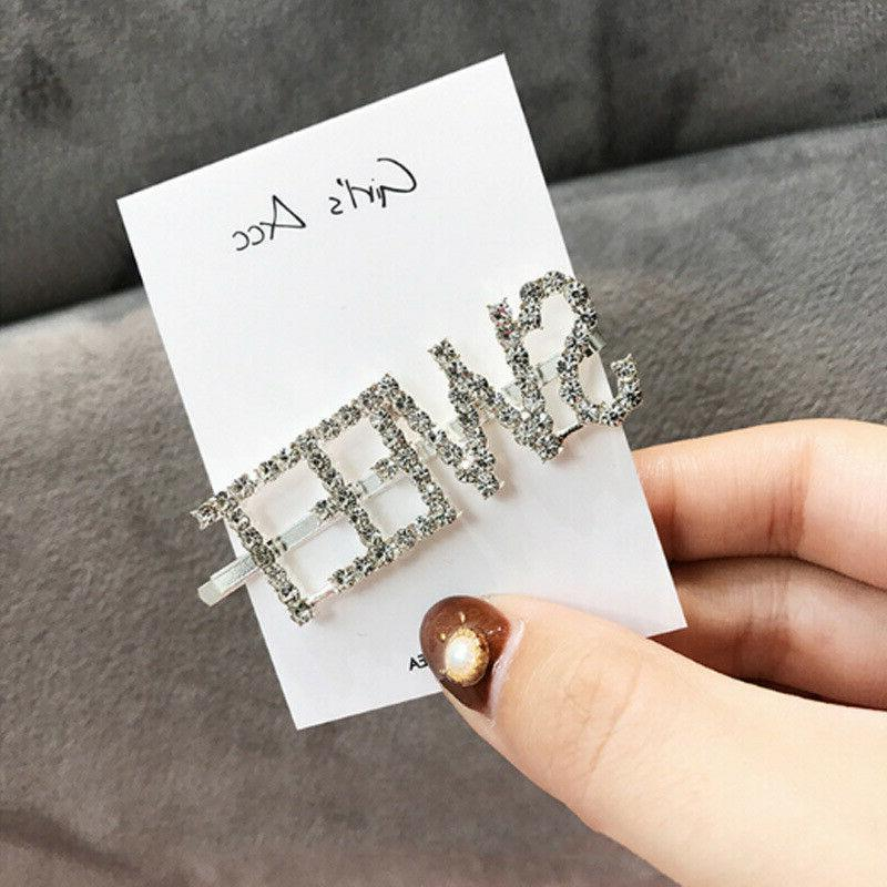 Fashion Rhinestone Clip Barrettes Girl Word Jewelry