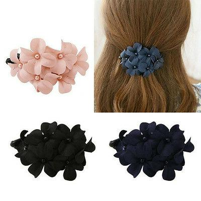 Fashion Women Flower Rhinestone Hair Pins Hairpin Clip Barre