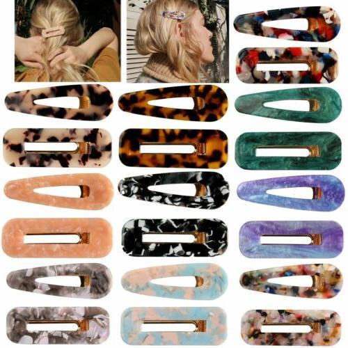 fashion women geometric hollow acrylic hair clips
