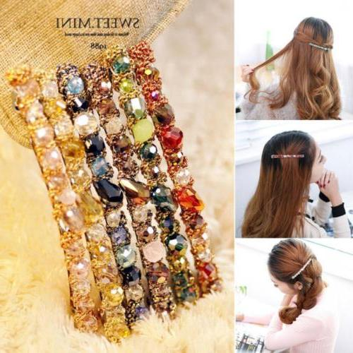 Fashion Women Girls Crystal Barrette Hair Clip Clamp