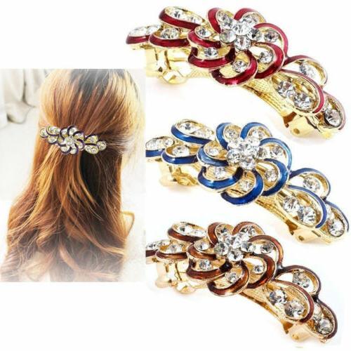 Fashion Barrette Rhinestone Flower Hair Clip Clamp Hairpin