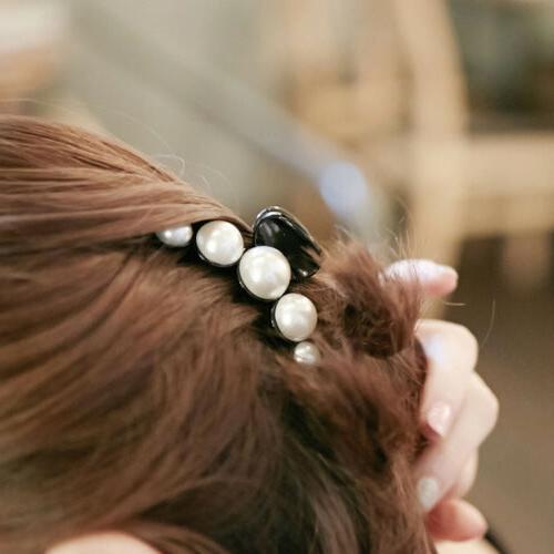 Fashion Hair Clip Faux pins Rhinestone Grip