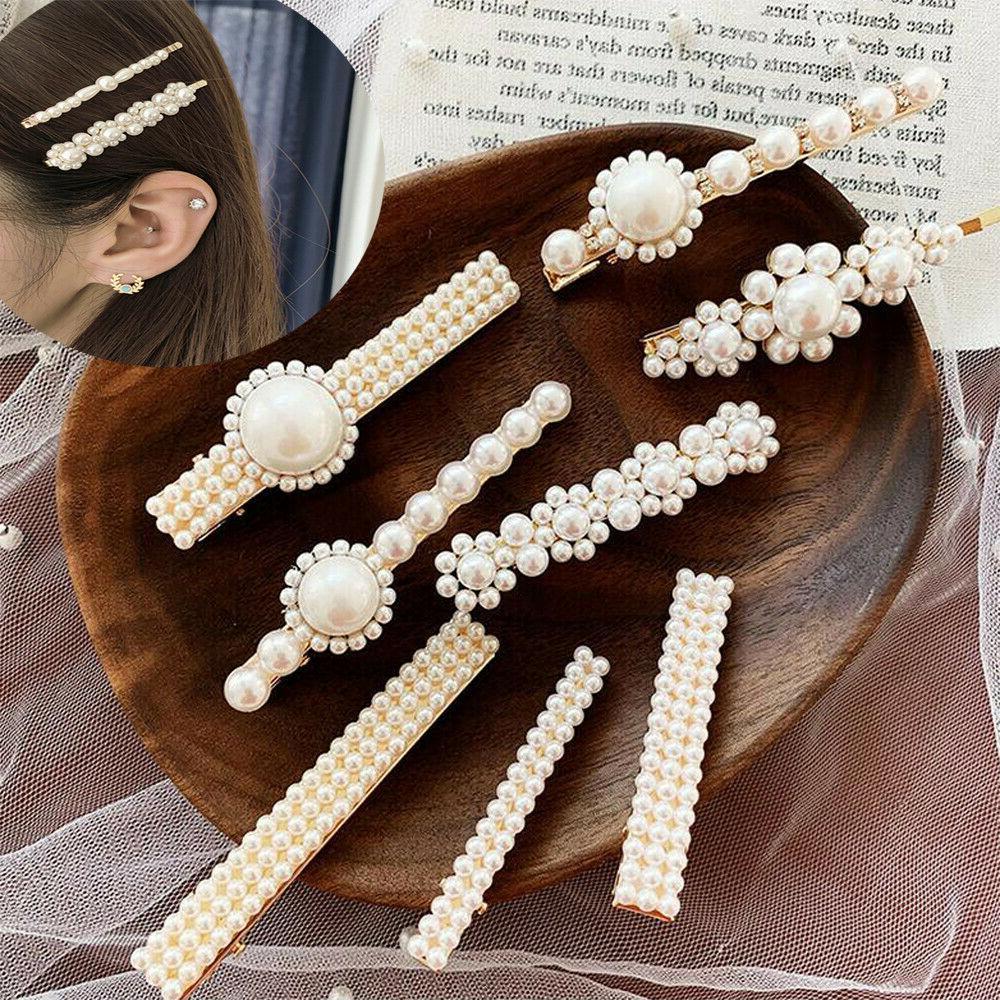 fashion women pearl flower barrette hair clip