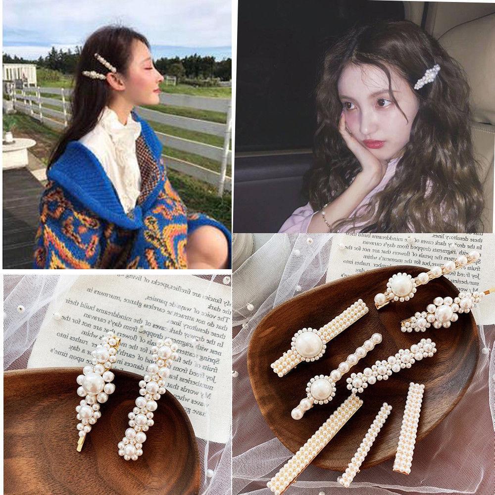 fashion women pearl hair clip snap barrette