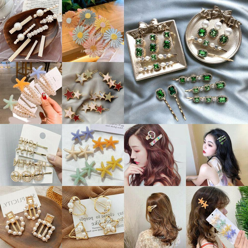 fashion women pearl plush barrette hair clip