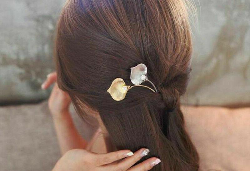 Fashion Women's Leaf Hair Clip Barrettes Pearl Hairpin