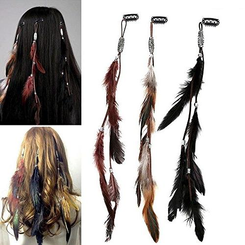 Women Feather Hair Handmade Extensions with Clip DIY Accessories Set of