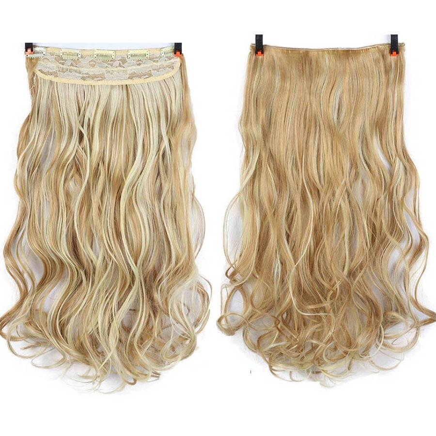 MUMUPI Extension 24 Blonde Black Full Synthetic <font><b>Natural</b></font> Curly Wavy Hairpiece Pieces