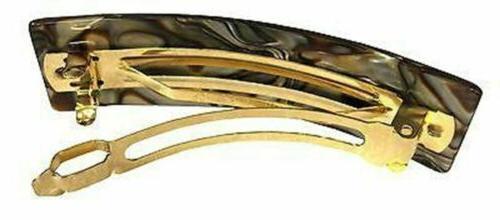 French Amie Medium Fine Wide Rectangular Handmade Hair Barrette Clip