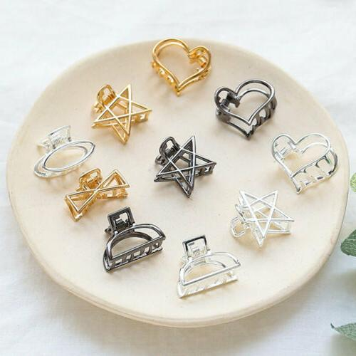 geometric women alloy hollow hair clip mini