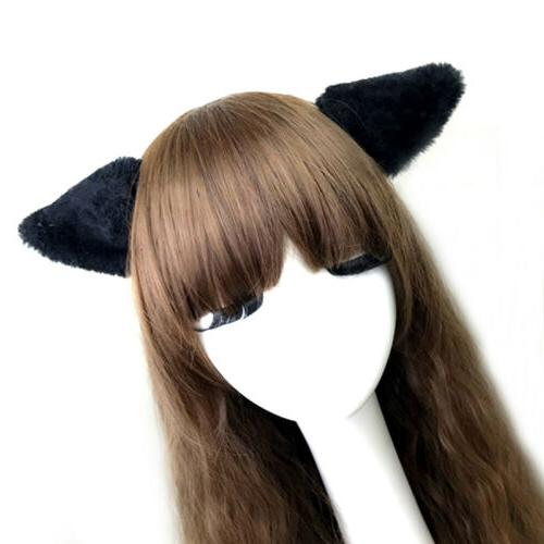Girls Cat Ears Fox Clip Cosplay Animal Hair Long Fur Catwoman