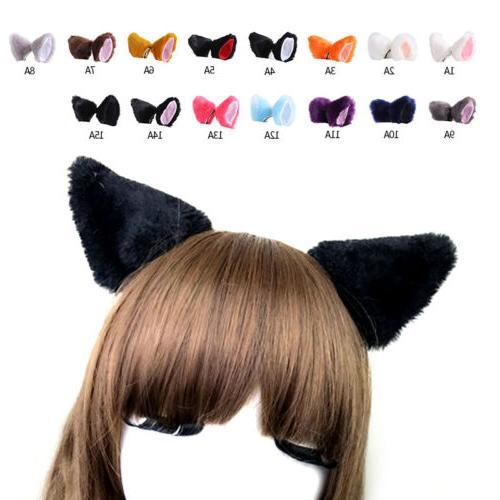 Girls Ears Clip Costume Hair Long Fur Catwoman