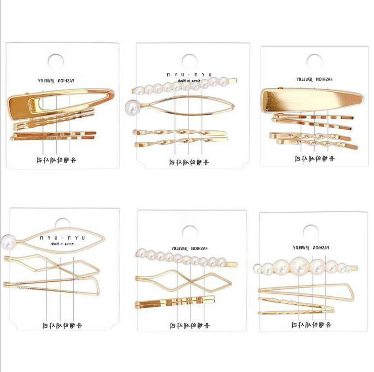 Fashion Gold Pearl Hair Clip Set Hairband Pin