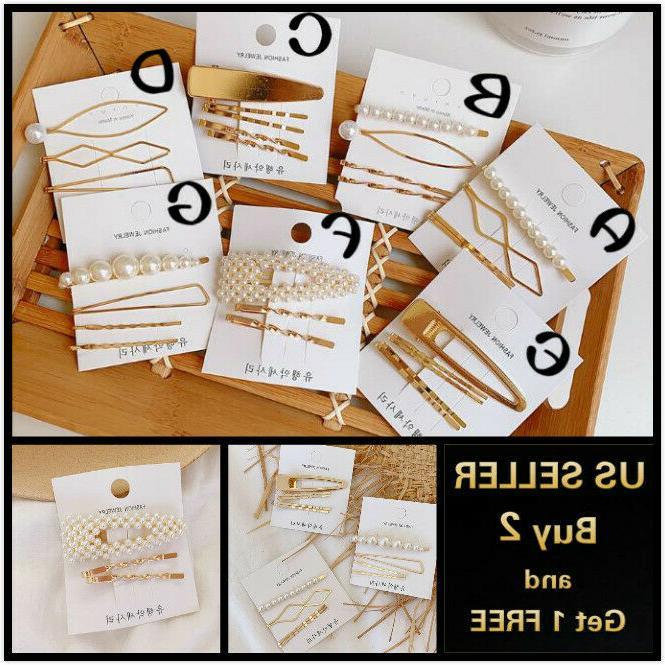 gold pearl hair clip set hairband bobby