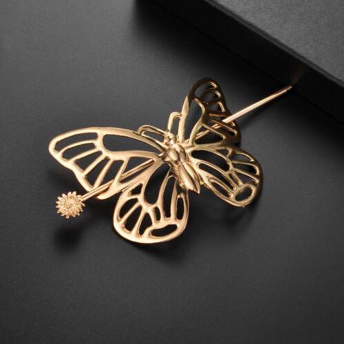 Lux Butterfly Barrette Hair Stick Brass Hair Clip