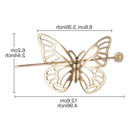 Lux Butterfly Hair Barrette Stick Brass Hair Clip