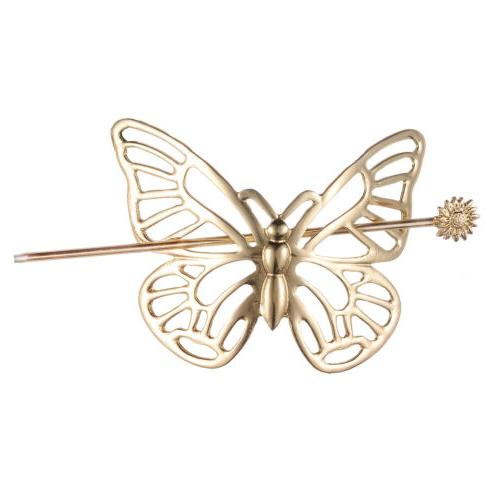 gold tone butterfly hair barrette hair stick