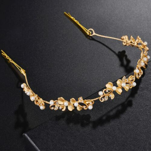 Lux Accessories Gold Tone Floral White Pearl Crystal Rhinest