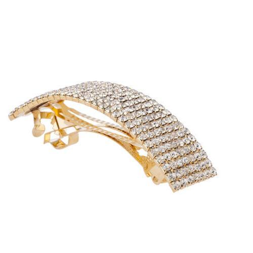 gold tone special occasion rhinestone hair barrette