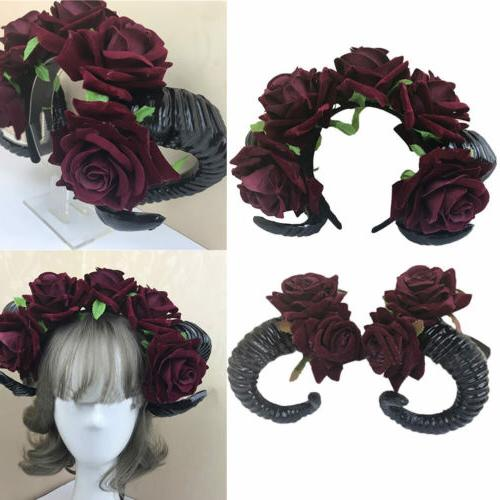 Gothic Prank Devil Sheep Horn Flower Headband Halloween Cosp