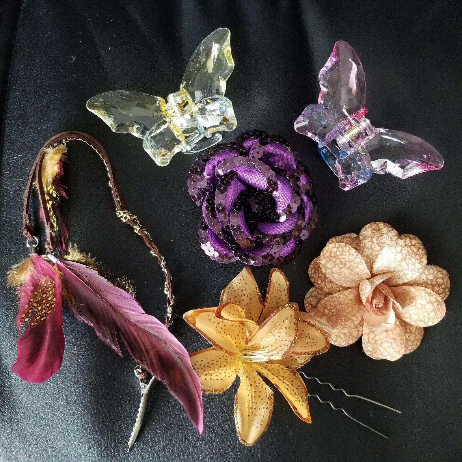 Hair Accessories LOT Hair Ties Butterfly Flowers