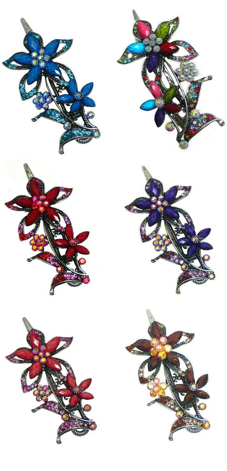 hair clip w flower ornament sparkled rhinestones