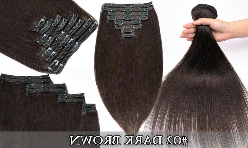 Hair Extensions Clip Double Weft Human