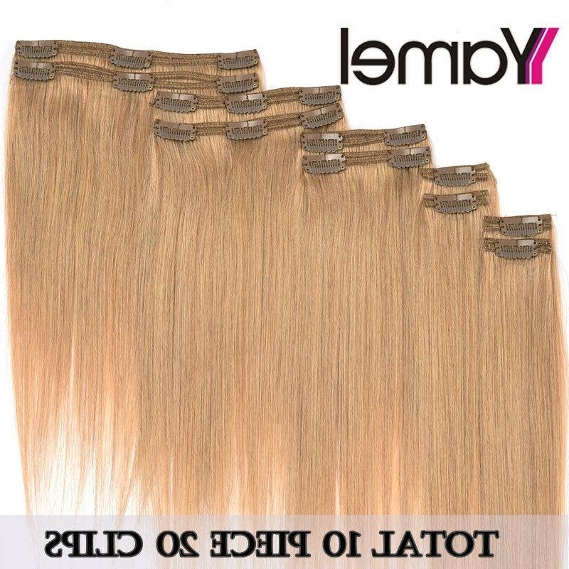Hair Extensions Clip Double Remy Human Full Head Clip