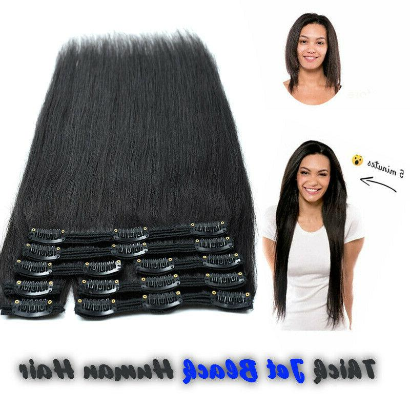 Hair Extensions Clip Double Weft Human Head Clip