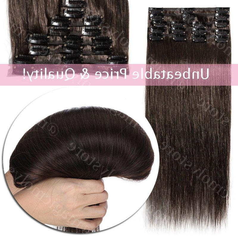 Hair Remy 8PCS 100% Human Brown Blonde