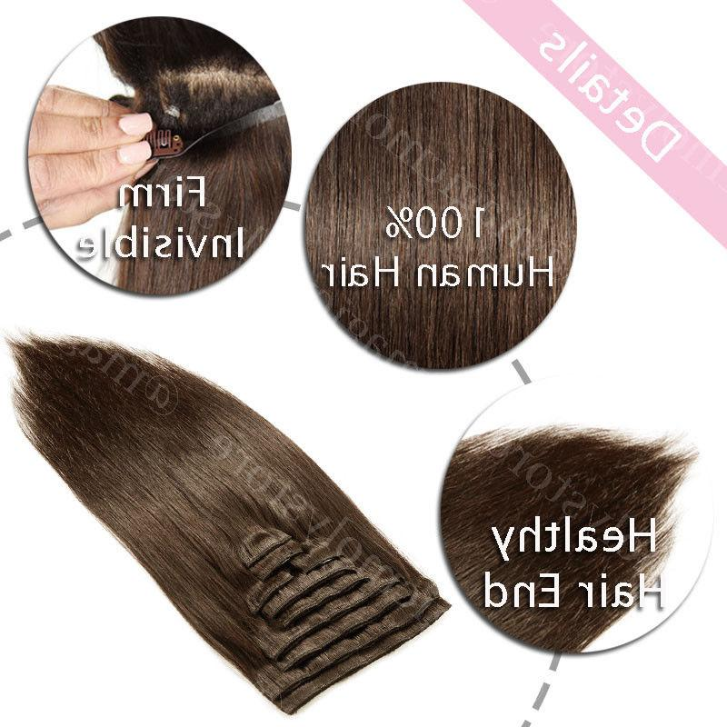 Hair Extensions Real 8PCS Clip In 100% Human Brown