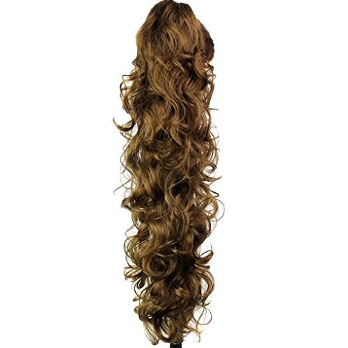S-ssoy Piece In Claw Ponytail Extension Long/Voluminous Wavy for Women Girls,12#