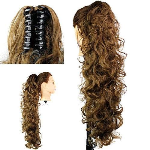 S-ssoy Women's Piece Pony Tail In Extension Long/Voluminous Curly Wavy for