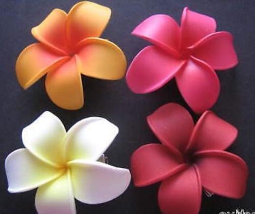 Hawaiian Foam PLUMERIA Flower Hair CLIP Red Pink White Orang