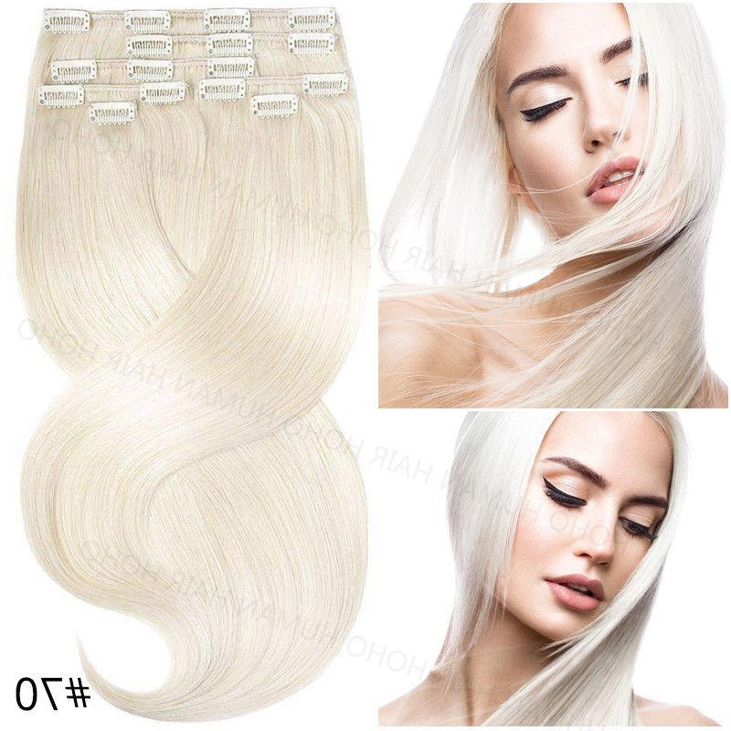 Indian 100% Hair Clip in Hair Extensions Pieces Full Head