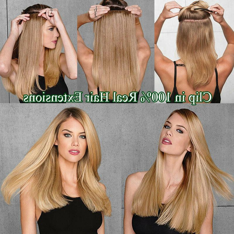 Human Hair Ins 100% Extensions Ombre 8PCS Weft